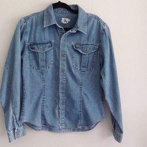 Calvin Klein Jean blouse jacket size large